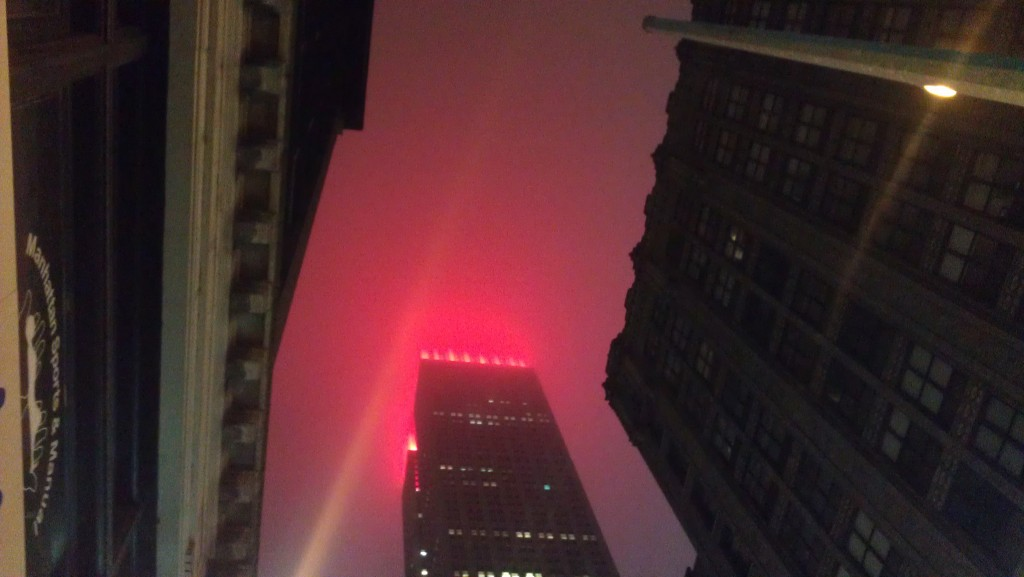 Empire State Building as Rudolph the Red-Nosed reindeer