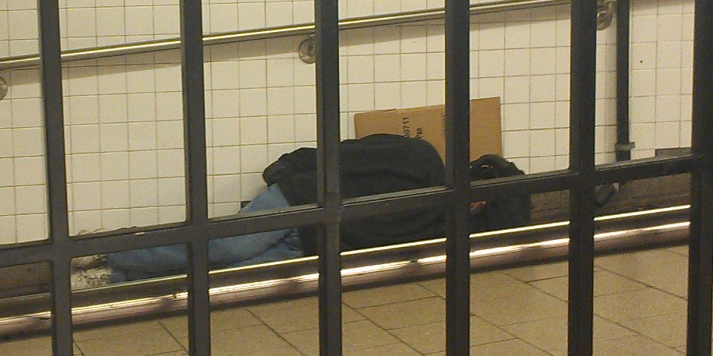 Man Sleeping in Brooklyn Bridge Subway on Christmas Eve