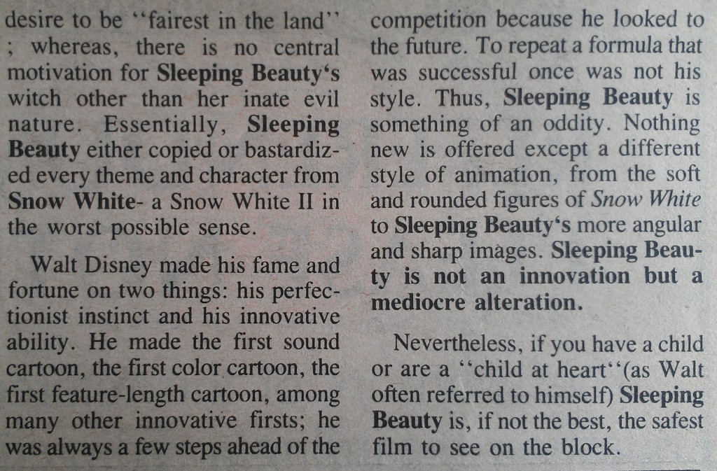 "Extract from ""Sleeping Beauty"" review"
