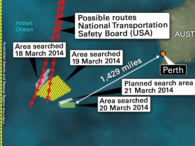Flight 370 search route