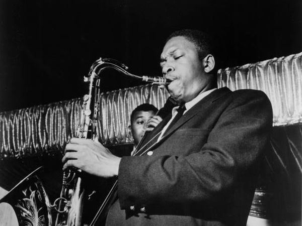 John Coltrane playing during a jazz concert, c. 1960s.