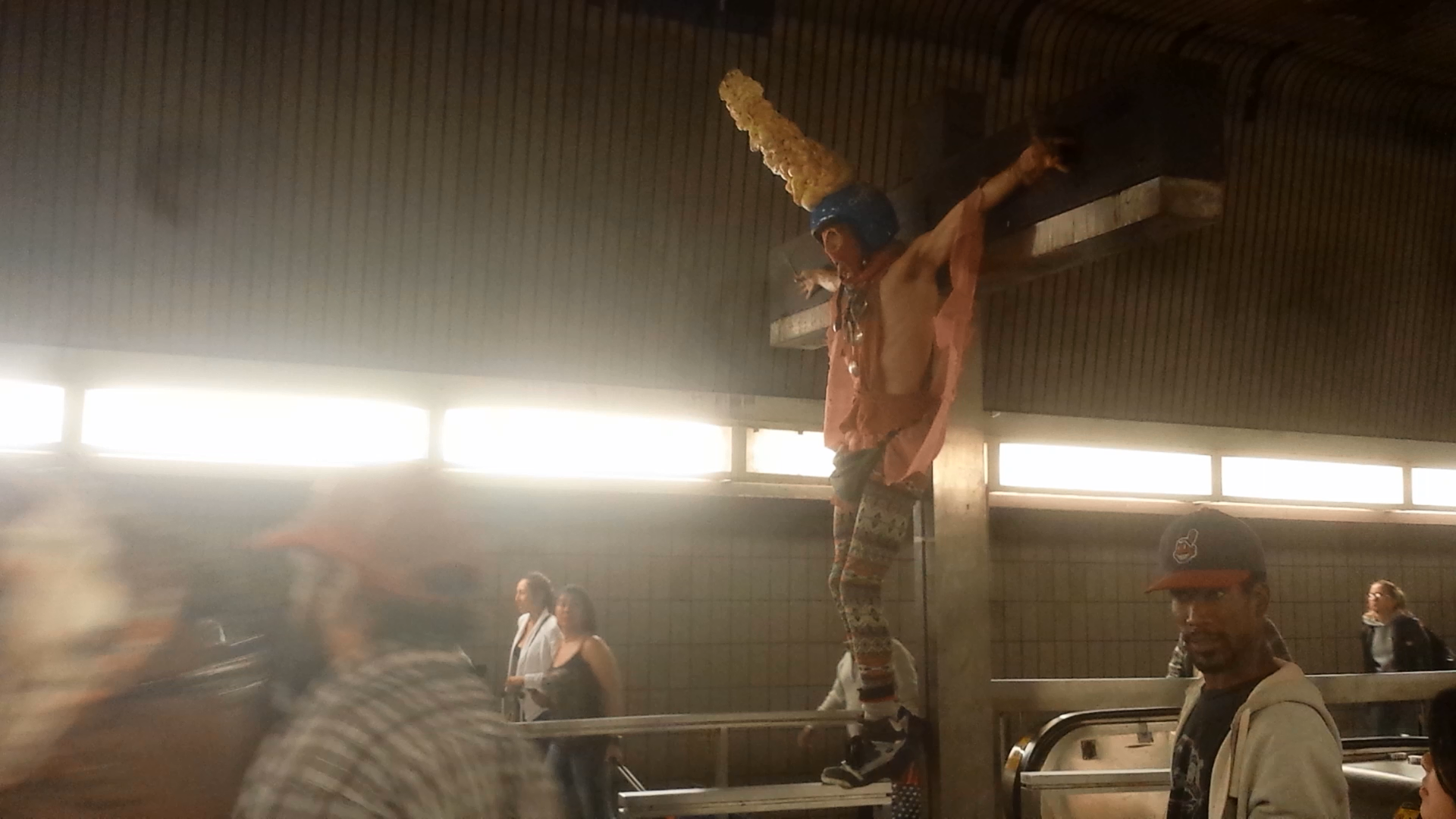 Mock Crucifixion at Jamaica Station