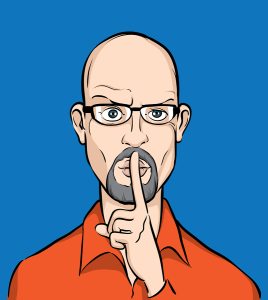 Bald man with finger on lips