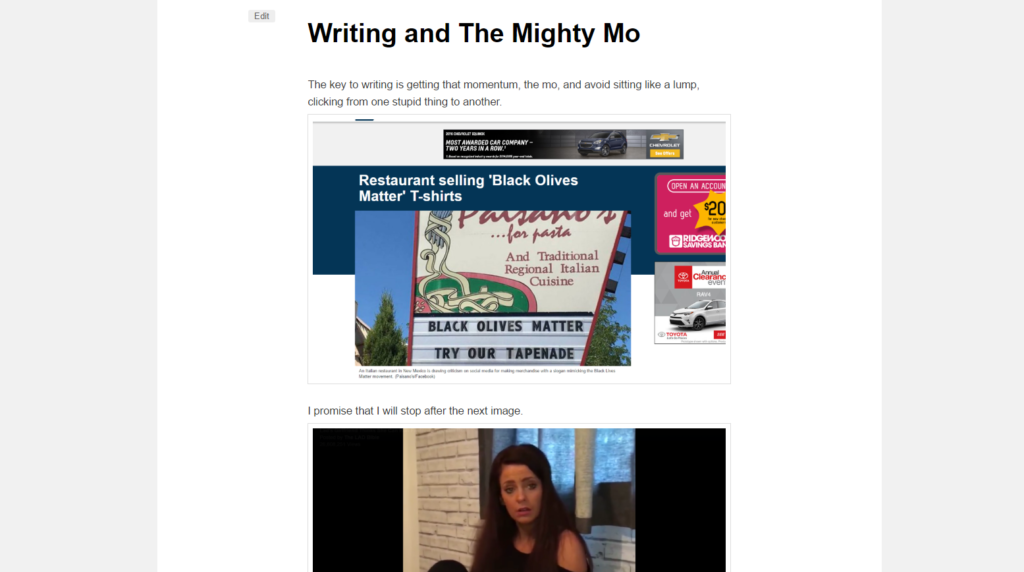 Writing and The Mighty Mo